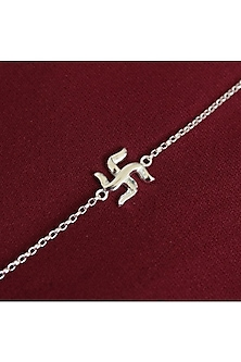 Silver Chain Swastik Rakhi by Ahilya Jewels