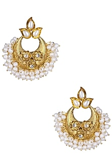 Gold Plated Pearl Bunches Chandbali Earrings by Ahilya Jewels