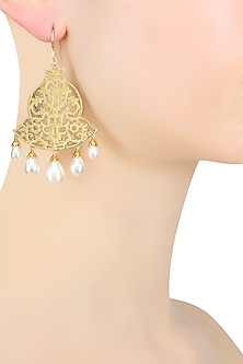 Gold Plated Unique Bell Shape Fish Hook Earrings by Ahilya Jewels