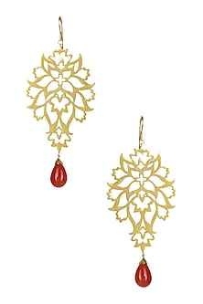 Gold Plated Flower and Leaf Pattern Byzantine Motifs Earrings by Ahilya Jewels