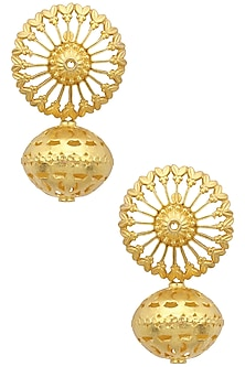 Gold Plated Cutwork Temple Earrings by Ahilya Jewels