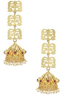 Gold Plated Floral Filigree Jhumki Earrings by Ahilya Jewels