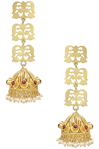 Gold Plated Floral Filigree Jhumki Earrings by Ahilya Jewels