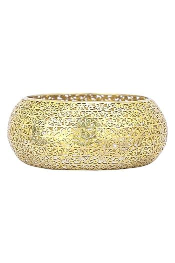 Gold Plated Filigree Cutwork Bangle by Ahilya Jewels