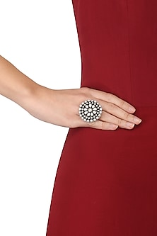 Silver Finish Pearls Studded Floral Ring by Ahilya Jewels