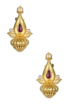 Gold Plated Ruby Stone Temple Earrings by Ahilya Jewels