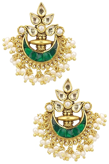 Gold Plated Emerald Cabochons and Seed Pearls Chandbali Earrings by Ahilya Jewels