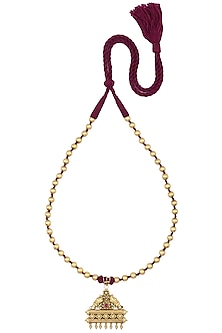 Gold Plated Engraved Taveez Necklace by Ahilya Jewels