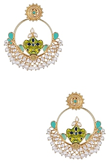 Gold Plated Turquoise Crystals Hoop Earrings by Ahilya Jewels