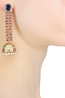 Gold Plated Vine Of Pink Stones And Blue Onyx Jhumki Earrings by Ahilya Jewels