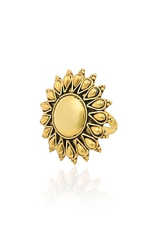 Gold Plated Sunflower Shaped Ring by Ahilya Jewels