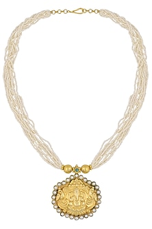 Gold Plated Carved Lord Ganesha 10 String Necklace by Ahilya Jewels