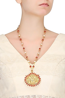 Gold Plated Carved Lord Ganesha And Coral Stone Pendant Necklace by Ahilya Jewels