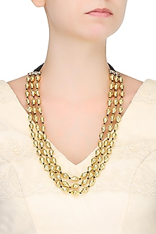 Gold Plated Dholki Shaped Beads Triple Strand Necklace by Ahilya Jewels