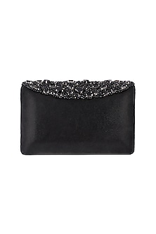 Black Embroidered Leather Box Clutch by Ash Amaira