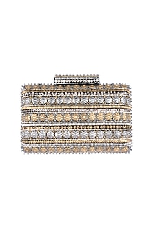 Gold & Silver Embroidered Crystal Clutch by Ash Amaira