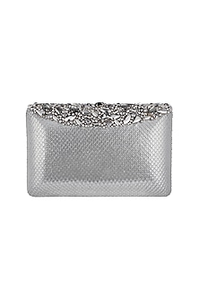 Silver Embroidered Leather Box Clutch by Ash Amaira