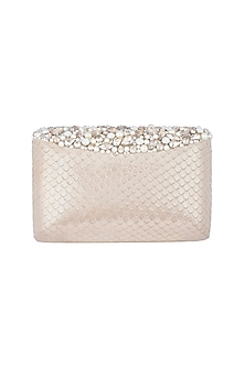 Champagne Embroidered Clutch by Ash Amaira