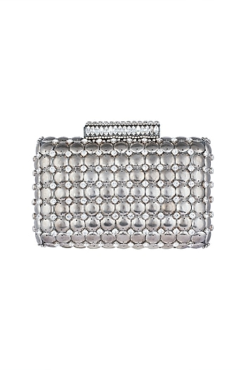 Silver Embroidered Clutch by Ash Amaira