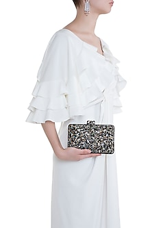 Black Embroidered Galaxy Clutch by Ash Amaira