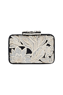 Black Embroidered Lace Clutch by Ash Amaira