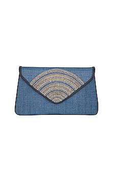 Indigo Blue Handmade Woven Design Clutch by Ash Amaira
