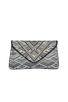 Black & White Handmade Golden Crystals Clutch by Ash Amaira