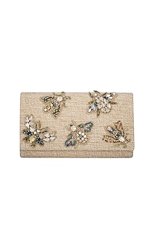 Beige Handmade Embellished Dragon Fly Clutch by Ash Amaira