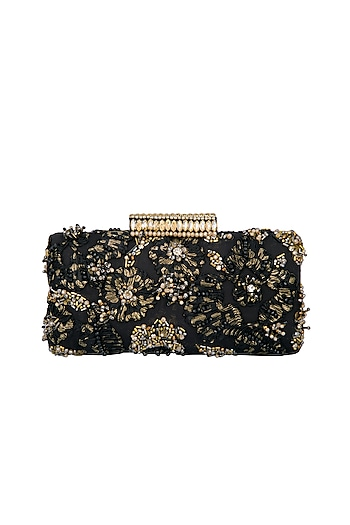Black Handmade Floral Crystal Clutch by Ash Amaira