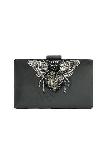Grey Handmade Embroidered Clutch by Ash Amaira