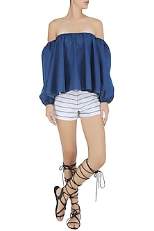 Blue off Shoulder Flounce Top by Ankita