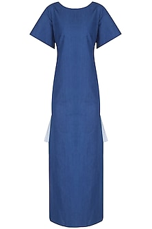 Blue Side Split Maxi Dress by Ankita