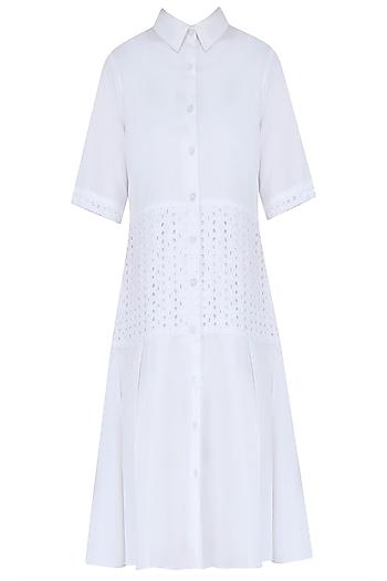 White Lace Trim Shirt Dress by Ankita