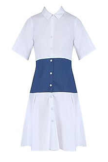 White and Blue Color Blocked Shirt Dress by Ankita