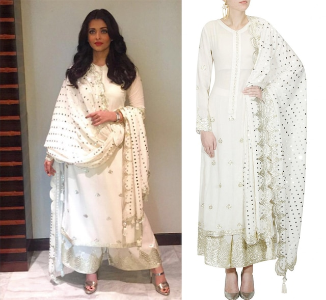 White and silver gota patti work kurta and pyjama set by Sukriti & Aakriti