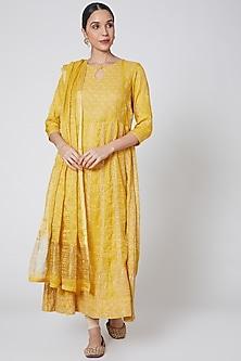 Yellow Embroidered Anarkali Set by Anshikaa Jain