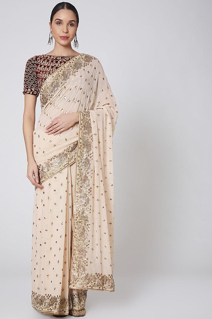 Beige & Maroon Embroidered Saree Set by Anshikaa Jain