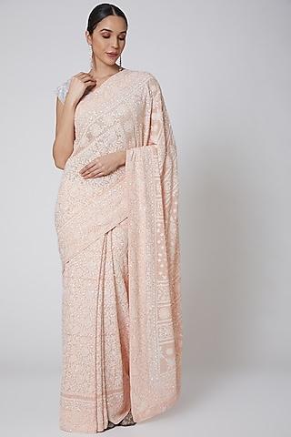 Peach Embroidered Saree Set by Anshikaa Jain