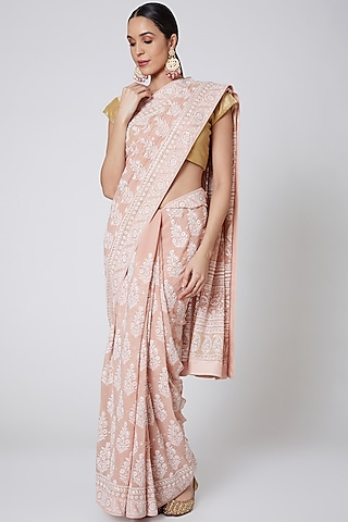 Peach Chikankari Embroidered Saree Set by Anshikaa Jain