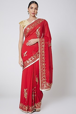 Red & Gold Embroidered Saree Set by Anshikaa Jain