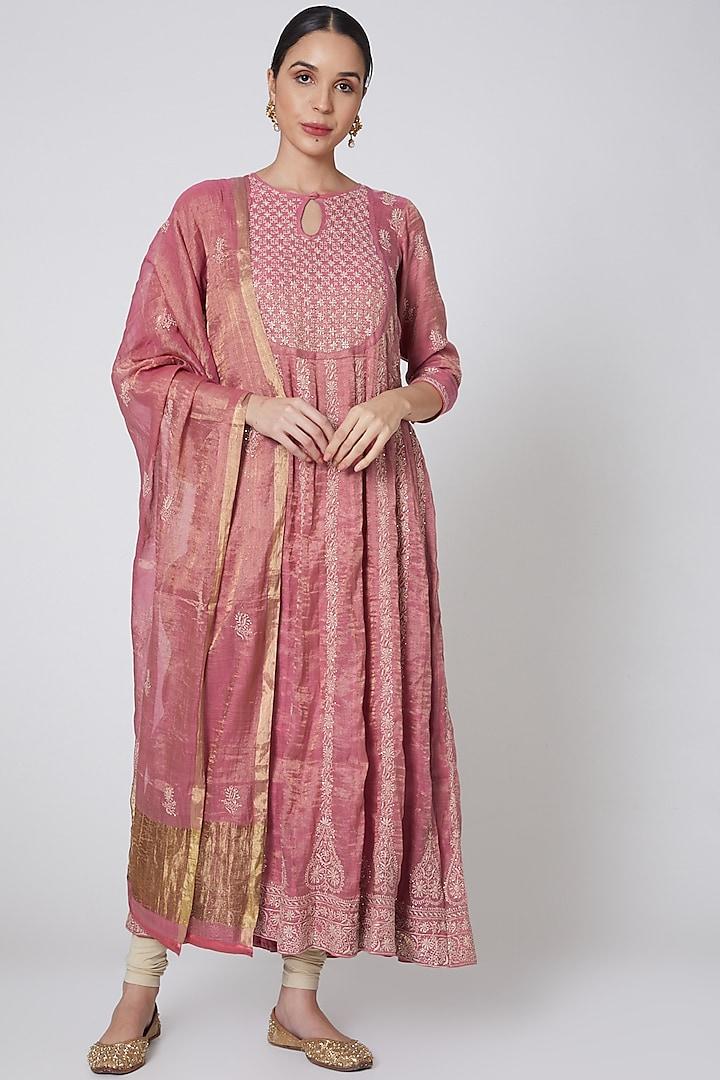 Blush Pink & Beige Embroidered Anarkali Set by Anshikaa Jain