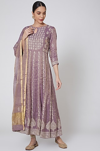 Purple & Beige Embroidered Anarkali Set by Anshikaa Jain
