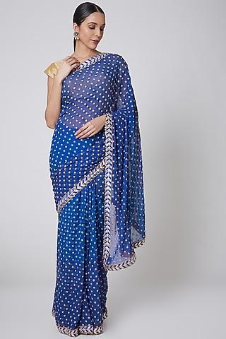 Turquoise & Gold Embroidered Saree Set by Anshikaa Jain