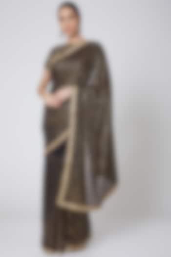 Black Embroidered Saree Set by Anshikaa Jain