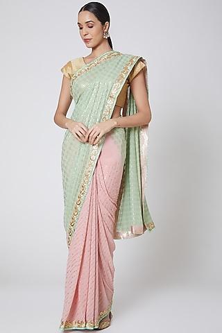 Peach & Mint Green Embroidered Saree Set by Anshikaa Jain