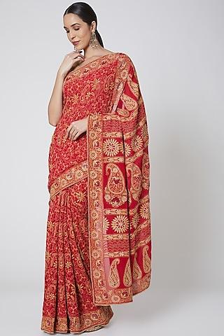 Red Embroidered Saree Set by Anshikaa Jain