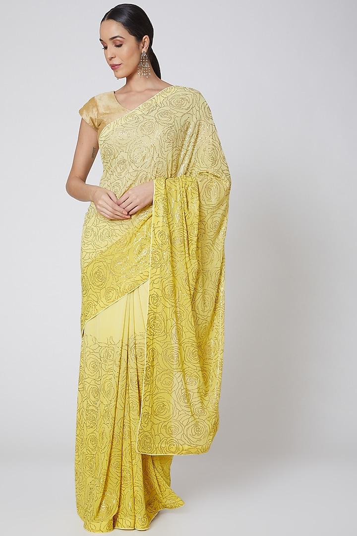 Yellow Embroidered Saree Set by Anshikaa Jain