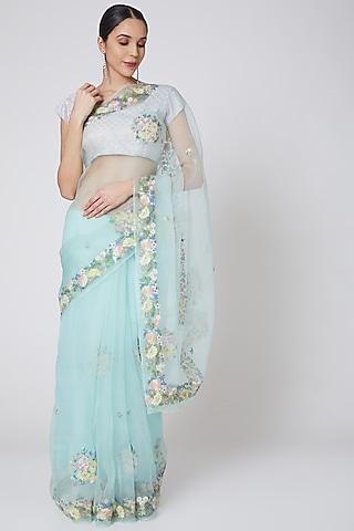 Mint Green Embroidered Saree Set by Anshikaa Jain