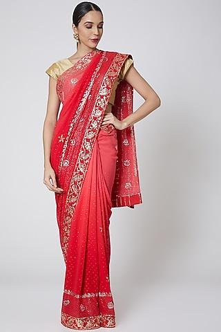 Red Mukaish Embroidered Saree Set by Anshikaa Jain
