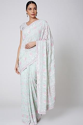 Mint Green Chikankari Embroidered Saree Set by Anshikaa Jain